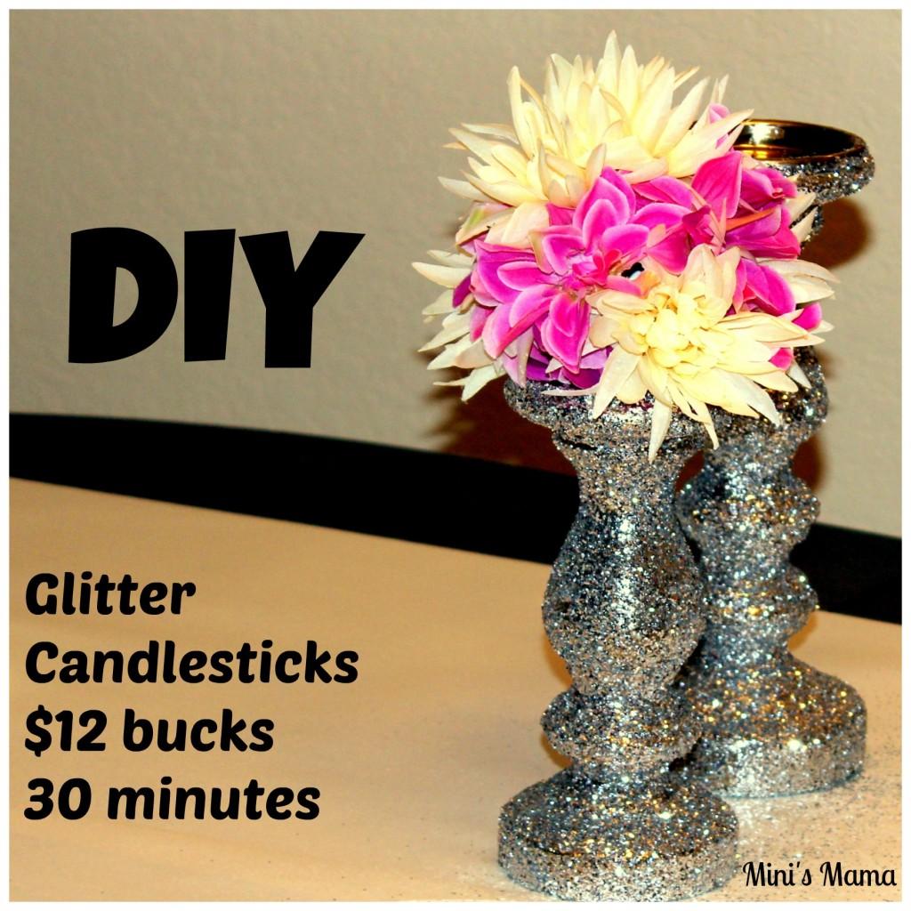 DIY candlestick glitter